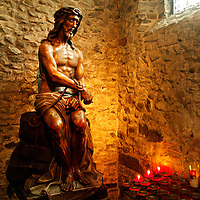 Europe, Belgium, Brugges. Statue of Jesus in the Basilica of the Holy Blood.