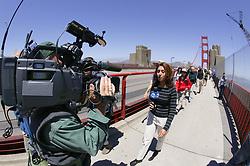 TV News Team Covering Coastwalk Team Members Crossing Golden Gate Bridge