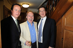 Left to right, DAVID CAMERON MP, ANDREW ROBERTS and GEORGE OSBORNE MP at the Spectator Summer Party held at 22 Old Queen Street, London SW1 on 3rd July 2008.<br /><br />NON EXCLUSIVE - WORLD RIGHTS