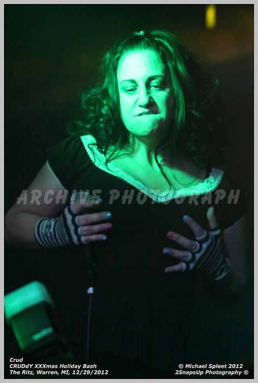 WARREN, MI, SUNDAY, DEC. 30, 2012 : Crud, CRUDdY XXXmas Holiday Bash, Danielle Arsenault at The Ritz, Warren, MI, 12/30/2012.  (Image Credit: Michael Spleet / 2SnapsUp Photography)