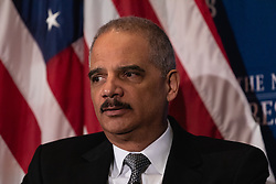 March 26, 2019 - Washington, D.C, USA - Former Attorney General Eric Holder,  speaks against gerrymandering at the National Press Club (NPC) in Washington, D.C., on Tuesday, March 26, 2019. (Credit Image: © Cheriss May/NurPhoto via ZUMA Press)