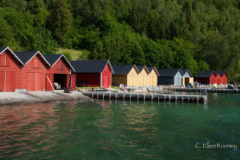 Colorful dock houses and docks in Solvorn, Lustra Fjord, Vestlandet, Norway