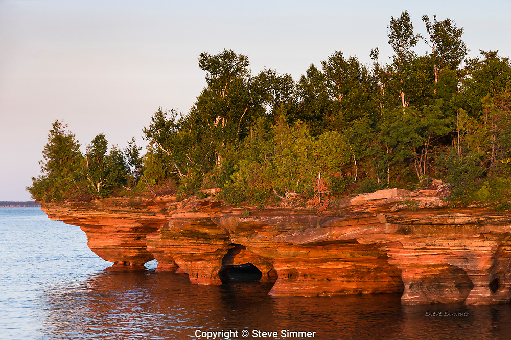 The northern tip of Devil's Island is the northernmost point of Wisconsin. These sea caves were created by tens of thousands of years of  wave action on its sandstone shores.