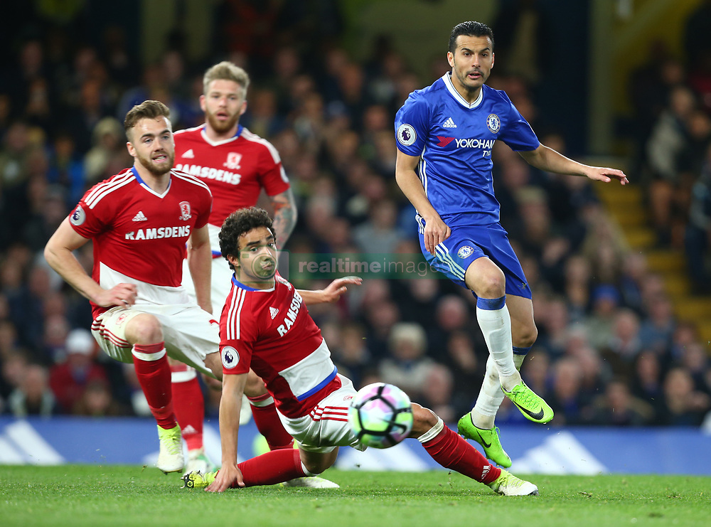 May 8, 2017 - Chelsea, Greater London, United Kingdom - L-R Ben Gibson of Middlesbrough,Calum Chambers of Middlesbrough , Fabio of Middlesbrough and Chelsea's Pedro.during Premier League match between Chelsea and Middlesbrough at Stamford Bridge, London, England on 08 May 2017. (Credit Image: © Kieran Galvin/NurPhoto via ZUMA Press)