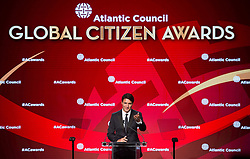 Canadian Prime Minister Justin Trudeau gestures to his wife Sophie as he speaks at the Atlantic Council Global Citizen Awards Gala dinner at the Intrepid Sea, Air & Space Museum in New York City, NY, USA, Tuesday September 19, 2017. Photo by Adrian Wyld/CP/ABACAPRESS.COM