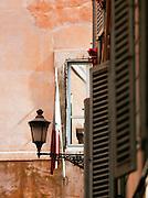 Italian flag on building, Rome, Italy.