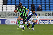 AFC Wimbledon defender George Francomb (7) gets ahead of Peterborough United defender Michael Smith (2) during the EFL Sky Bet League 1 match between Peterborough United and AFC Wimbledon at ABAX Stadium, London Road, Peterborough, England on 22 October 2016. Photo by Stuart Butcher.
