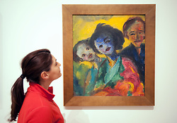 Painting Young Women by Emile Nolde at Statens Museum for Kunst or Royal Museum of Fine Arts in Copenhagen Denmark