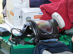 © Licensed to London News Pictures. 06/07/2018. Amesbury, UK. Emergency equipment, including gas masks, are seen outside a property in Amesbury after a couple, named locally as Dawn Sturgess, 44, and her partner Charlie Rowley, 45, were taken ill on Saturday 30th June 2018. Police have confirmed that the couple have been in contact with Novichok nerve agent. Former Russian spy Sergei Skripal and his daughter Yulia were poisoned with Novichok nerve agent in nearby Salisbury in March 2018. Photo credit: Peter Macdiarmid/LNP
