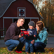 Cadel Crowl with his wife Rebecca and son Riley on their farm in Lafayette, Indiana. Crowl served in the U.S. Army from 2008-13 before starting his farm when he got home. Nathan Lambrecht/Journal Communications