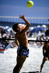 D. Ross Cameron 8/89<br /> <br /> Alexander D. Cameron prepares to hit during a volleyball match at Deauville Beach in Rehoboth Beach, Del.