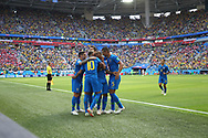 Neymar of Brazil celebrates after his goal with teammates during the 2018 FIFA World Cup Russia, Group E football match between Brazil and Costa Rica on June 22, 2018 at Saint Petersburg Stadium in Saint Petersburg, Russia - Photo Tarso Sarraf / FramePhoto / ProSportsImages / DPPI