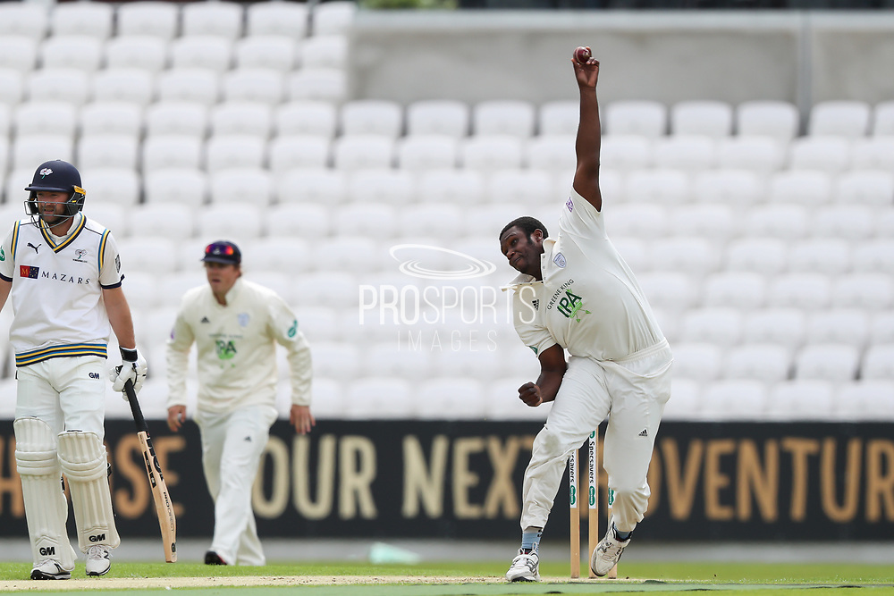Keith Barker of Hampshire bowling during the opening day of the Specsavers County Champ Div 1 match between Yorkshire County Cricket Club and Hampshire County Cricket Club at Headingley Stadium, Headingley, United Kingdom on 27 May 2019.