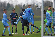 Leeds United forward Henri Kumwenda heads at goal during the U18 Professional Development League match between Coventry City and Leeds United at Alan Higgins Centre, Coventry, United Kingdom on 13 April 2019.
