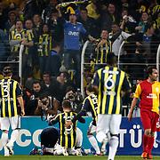 Fenerbahce's players celebrate goal during their Turkish superleague soccer derby match Fenerbahce between Galatasaray at Sukru Saracaoglu stadium in Istanbul Turkey on Saturday 17 March 2012. Photo by TURKPIX
