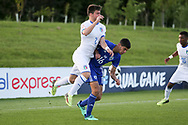 Alberto Barazzetta of Italy (2) challenges Amit Meir of Israel (16) during the UEFA European Under 17 Championship 2018 match between Israel and Italy at St George's Park National Football Centre, Burton-Upon-Trent, United Kingdom on 10 May 2018. Picture by Mick Haynes.