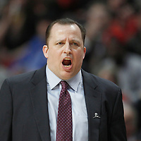 26 March 2012: Chicago Bulls head coach Tom Thibodeau yells during the Denver Nuggets 108-91 victory over the Chicago Bulls at the United Center, Chicago, Illinois, USA. NOTE TO USER: User expressly acknowledges and agrees that, by downloading and or using this photograph, User is consenting to the terms and conditions of the Getty Images License Agreement. Mandatory Credit: 2012 NBAE (Photo by Chris Elise/NBAE via Getty Images)
