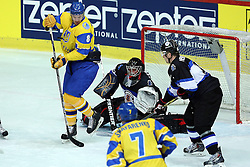 20.04.2016, Dom Sportova, Zagreb, CRO, IIHF WM, Ukraine vs Estland, Division I, Gruppe B, im Bild Andrei Mikhnov, Daniil Seppenen // during the 2016 IIHF Ice Hockey World Championship, Division I, Group B, match between Ukraine and Estonia at the Dom Sportova in Zagreb, Croatia on 2016/04/20. EXPA Pictures © 2016, PhotoCredit: EXPA/ Pixsell/ Goran Stanzl<br /> <br /> *****ATTENTION - for AUT, SLO, SUI, SWE, ITA, FRA only*****