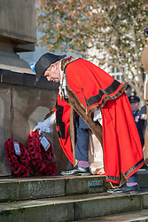 Mayor of Barnsley Councillor Tim Shepherd lays a wreath of Poppies at Barnsley War Memorial on remembrance Sunday Barnsley Marks the Centenary of the out break of World War I<br /> <br /> 09 November 2014<br /> <br /> Image © Paul David Drabble <br /> <br /> www.pauldaviddrabble.co.uk