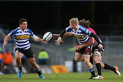 Scott van Breda of Western Province get his pass away to Michael Willemse of Western Province as Lambert Groenewald of the Pumas makes the tackle during the Currie Cup Premier Division match between the DHL Western Province and the Pumas held at the DHL Newlands rugby stadium in Cape Town, South Africa on the 17th September  2016<br /> <br /> Photo by: Shaun Roy / RealTime Images