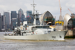 © Licensed to London News Pictures. 18/03/2019. London, UK.  The Irish warship, LE James Joyce (P62) seen leaving London, passing through the Thames Barrier on the River Thames today following a week long visit to coincide with St Patrick's Day celebrations in London yesterday. LE James Joyce is a military patrol vessel built in 2015 and is approximately 90 meters long.  Photo credit: Vickie Flores/LNP