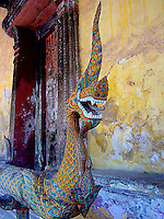 Naga guarding entrance at Wat Sisaket, Vientianne.
