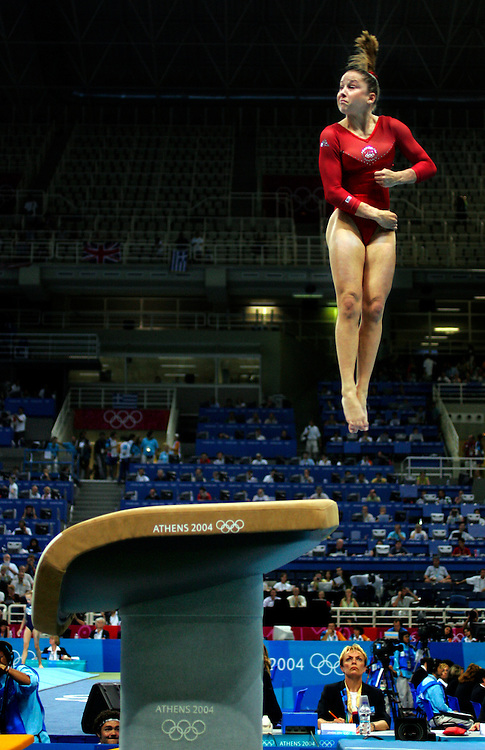 United States gymnast Carly Patterson flew off the vault in her first rotation in the women's individual all-around final at the Olympic Indoor Hall in Athens, Greece. Patterson won the gold medal in the event at the 2004 Summer Olympic Games.