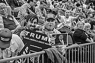 A Donald Trump fans at a campaign rally in Baton Rouge, LA, for Republican presidential candidate Donald Trump, before he arrives, on Feb. 11, 2016.