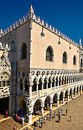 The 14th Century Gothic style eastern facade of The Doge's Palace on St Marks Square, Palazzo Ducale, Venice Italy .<br /> <br /> Visit our ITALY HISTORIC PLACES PHOTO COLLECTION for more   photos of Italy to download or buy as prints https://funkystock.photoshelter.com/gallery-collection/2b-Pictures-Images-of-Italy-Photos-of-Italian-Historic-Landmark-Sites/C0000qxA2zGFjd_k<br /> <br /> <br /> Visit our MEDIEVAL PHOTO COLLECTIONS for more   photos  to download or buy as prints https://funkystock.photoshelter.com/gallery-collection/Medieval-Middle-Ages-Historic-Places-Arcaeological-Sites-Pictures-Images-of/C0000B5ZA54_WD0s
