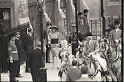 The Princess of Wales; arriving  at  Prince andrew's marriage to Fergie, .Westminster Abbey,  1986