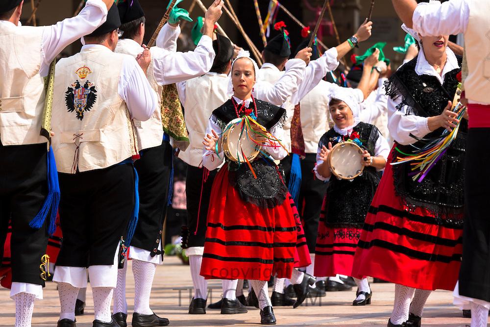 Dancing at traditional fiesta at Villaviciosa in Asturias, Northern Spain