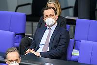 11 FEB 2021, BERLIN/GERMANY:<br /> Jens Spahn, CDU, bundesgesundheitsminister, Debatte nach der  Regierungserklaerung der Bundeskanzlerin zur Bewaeltigung der Corvid-19-Pandemie, Plenum, Reichstagsgebaeude, Deutscher Bundestag<br /> IMAGE: 20210211-01-080<br /> KEYWORDS: Corona, Maske, Mundschutz