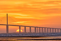 Sun rising under the Sunshine Skyway bridge from Fort De Soto Park. 3 of 4 images taken with a Fuji X-H1 camera and 200 mm f/2 OIS lens with a 1.4x teleconverter (ISO 400, 280 mm, f/16, 1/80 sec). Raw images processed with Capture One Pro and AutoPano Giga Pro.