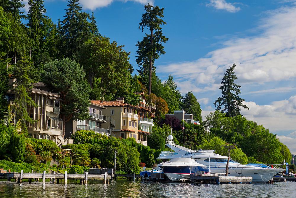 United States, Washington, Bellevue. Houses on the Lake Washington waterfront.