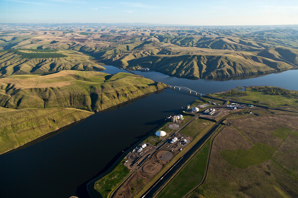 Licensing - Open Edition Prints<br /> Aerial view of bridge and shipping docks for barges and river boats to load crops and produce for journey down river to confluence with the Columbia River and onward to Portland Oregon.