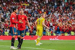 June 10, 2019 - Madrid, SPAIN - 190610 Alvaro Morata and Daniel Parejo of Spain celebrate after 2-0 during the UEFA Euro Qualifier football match between Spain and Sweden on June 10, 2019 in Madrid  (Credit Image: © Andreas L Eriksson/Bildbyran via ZUMA Press)