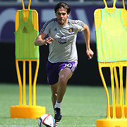 Kaka (10) is seen dribbling the ball during the Orlando City Soccer club MLS practice at the Florida Citrus Bowl on Wednesday, March 4, 2015 in Orlando ,Florida. The first season for the Lions is scheduled to begin on March 8, and over 60,000 tickets have been sold for the home opener, though a league wide player strike may occur prior to the beginning of the scheduled season. (AP Photo/Alex Menendez)