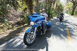 Zach Ness riding through Tamoka State Park with his dad Cory and grandpa Arlen during the Daytona Bike Week 75th Anniversary event. FL, USA. Monday March 7, 2016.  Photography ©2016 Michael Lichter.