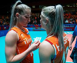 28-05-2019 NED: Volleyball Nations League Netherlands - Brazil, Apeldoorn<br /> <br /> Marrit Jasper #18 of Netherlands, Hester Jasper of Netherlands