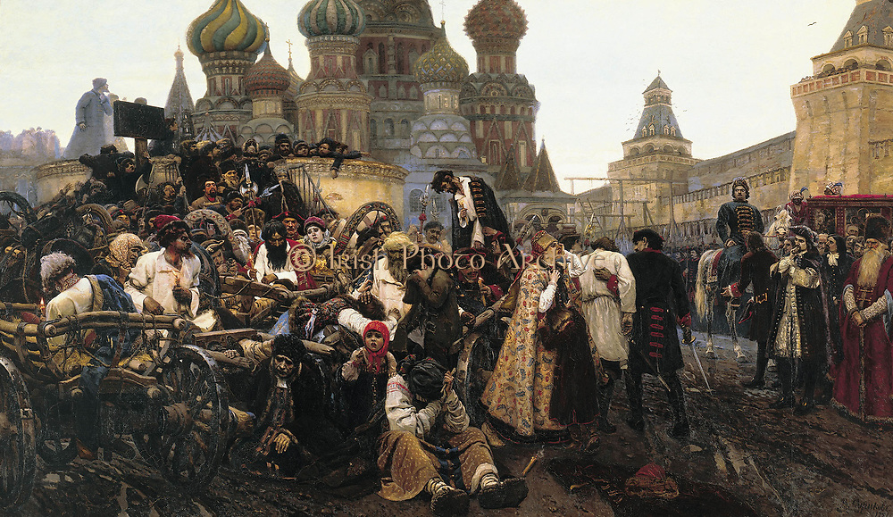 Wassilij Iwanowitsch Surikow (1848–1916) Morning of Execution of Streltsy 1881. The Streltsy Uprising of 1698 ) was an uprising of the Moscow Streltsy regiments.