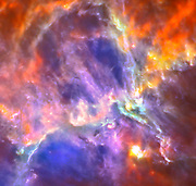 This Herschel image of the Eagle nebula shows the self-emission of the intensely cold nebula's gas and dust.