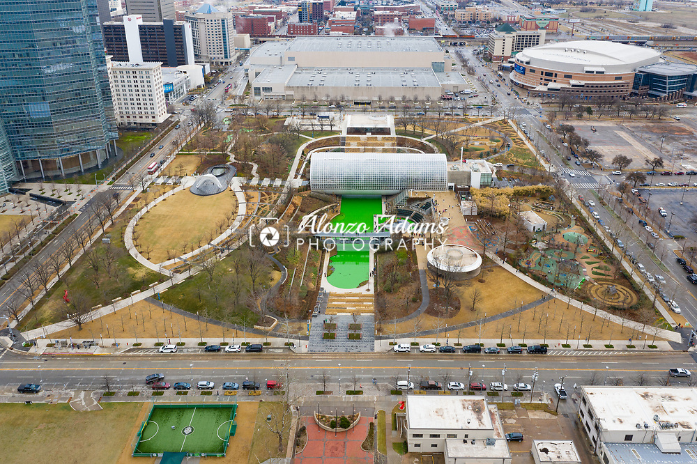 The Myriad Botanical Gardens in downtown Oklahoma City dyed their pond green for St. Patrick's Day on Wednesday, March 17, 2021. Photo copyright © 2021 Alonzo J. Adams