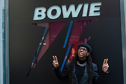 © Licensed to London News Pictures. 25/10/2021. LONDON, UK.  Nile Rodgers, music producer, at the opening of a David Bowie pop-up shop in Heddon Street in the West End.  Open 75 days before the late singer's 75th birthday, the pop-up is located close to where Bowie posed as Ziggy Stardust on the cover of his 1972 album The Rise and Fall of Ziggy Stardust and the Spider from Mars.  The store sells limited edition records and memorabilia curated by his estate and will be open until January 2022. A sister shop will open in New York and both form part of a year long celebration of David Bowie's 75th birthday.  Photo credit: Stephen Chung/LNP