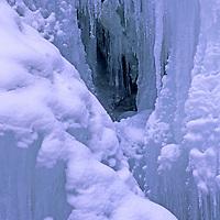 MONTANA. Winter ice at Ouzel Falls, near Big Sky.