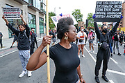 June 3, 2020, London, England, United Kingdom: Demonstrators chant ''Black Lives Matter'' on Wednesday, June 3, 2020, at the US Embassy in south London, during a protest over the death of George Floyd, who died on May 25 after he was restrained by Minneapolis police in the United States. (Credit Image: © Vedat Xhymshiti/ZUMA Wire)