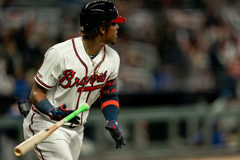 Ronald Acuna Jr. hits a home run during the home opener against the Chicago Cubs on Monday, April 1, 2019. The Braves won 8-0. Photo by Kevin D. Liles/Atlanta Braves