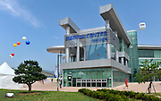 Chungju, South Korea. General Views Boathouse, and other buildings, 2013 FISA World Rowing Championships,  at the Tangeum Lake International Regatta Course. 11:21:36  Saturday  24/08/2013 [Mandatory Credit. Peter Spurrier/Intersport Images]