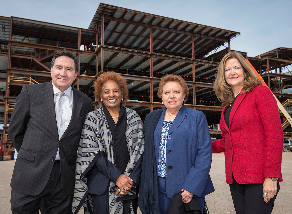 L-R: Denis DeBakey, Charlesetta Deason, Agnes Perry and Linda Lazenby pose for a photograph at the site of the new DeBakey High School for Health Professionals, January 27, 2016.