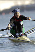 Seville. SPAIN, 18.02.2007, ALG LW1X Amina ROUBA, moves away from the start pontoon during Sunday morning's  heats, at the FISA Team Cup, held on the River Guadalquiver course. [Photo Peter Spurrier/Intersport Images]    [Mandatory Credit, Peter Spurier/ Intersport Images]. , Rowing Course: Rio Guadalquiver Rowing Course, Seville, SPAIN,