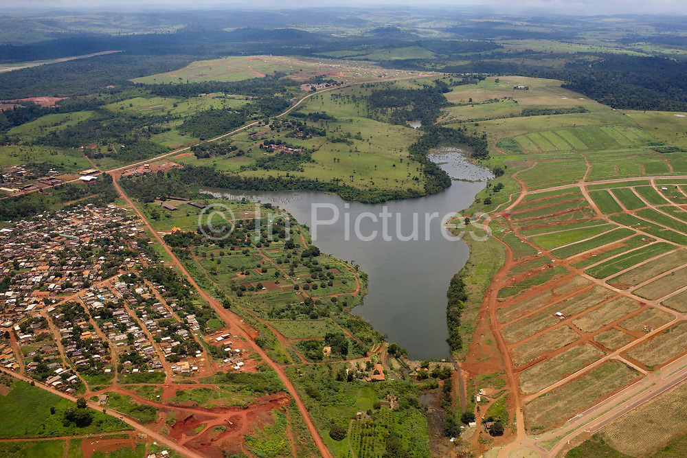 Altamira from the air. Greenpeace Brazil use a light aircraft to investigate deforestation from logging and the Belo Monte Hydroelectric dam, Altamira, Para, Brazil.